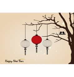 Big traditional chinese lanterns will bring good vector