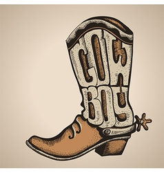 Cowboy boot isolated foe design vector