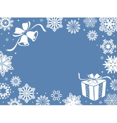 Christmas greeting card in blue shades vector