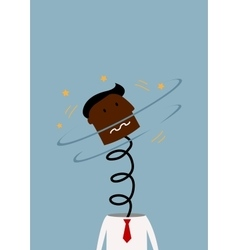 Exploded black businessman with head on the spring vector