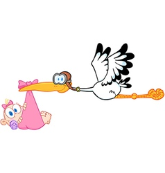 Stork delivering a newborn baby girl vector