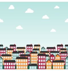 Seamless background pattern with colorful town vector