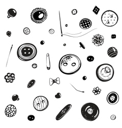 Buttons and needles set ink drawing vector