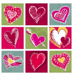 Valentines card with hand draw nine heart vector