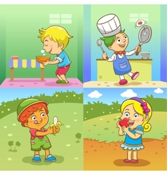 Set of child activities cartoon vector