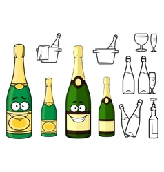 Champagne bottles cartoon characters and icons vector