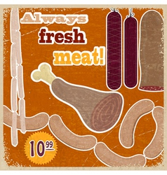 Vintage card with a picture of meat products vector