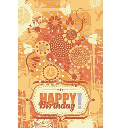 Floral birthday greeting card vector