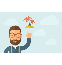 Man pointing the 2 palm trees icon vector