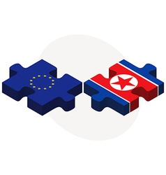 European union and korea-north flags in puzzle vector