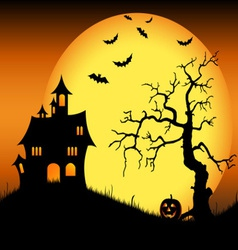 Halloween haunted castle with bats and tree vector