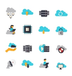 Cloud computing flat icons set vector
