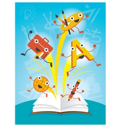 Education characters jump out book arts program vector