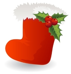 Christmas icon santa boot with holly vector