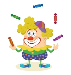 Circus clown juggling candies vector