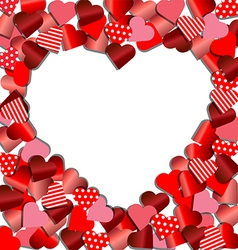 Heart frame from red paper for valentine card vector