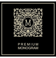 Stylish monogram  logo design in art nouveau vector