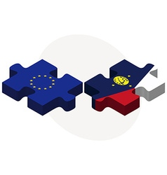 European union and wake island flags vector
