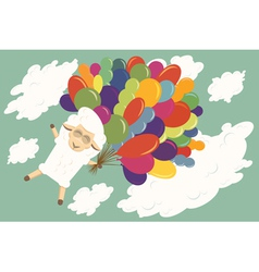 Card with flying baby lamb vector