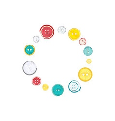 Decorative circle of sewing buttons over white vector