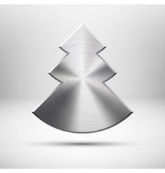 Tecnology christmas tree icon with metal texture vector