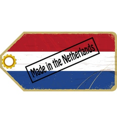 Vintage label with the flag of netherlands vector