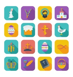 Color flat easter icons vector