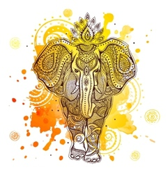 Elephant with watercolor splash vector
