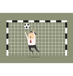 Businessman goalkeeper blocking the shoot vector