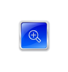 Zoom in icon on blue button vector