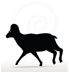 Big horn sheep silhouette in running pose vector