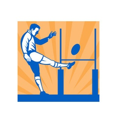 Rugby player kicking ball at goal post vector