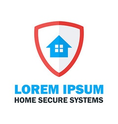 Home secure system logo design vector