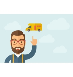 Man pointing the delivery van icon vector