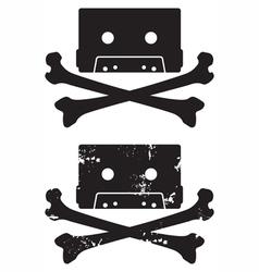 Cassette skull icon vector