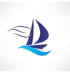 Sailboat at sea icon vector