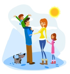 Family enjoying a winter day vector