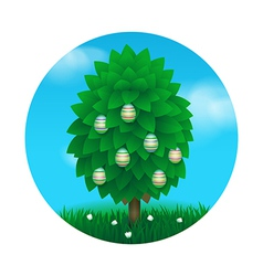 Easter tree greeting card vector
