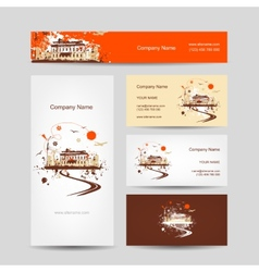 Business cards design with retro house sketch vector