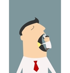 Dentist making a diagnosis to huge businessman vector