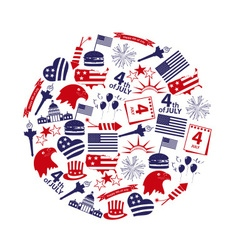 American independence day celebration icons in vector