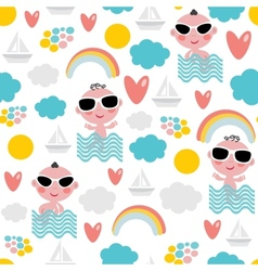 Cute baby boy on vacation seamless pattern vector