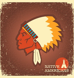 Native american man portrait vector