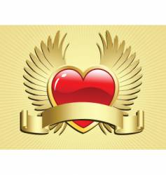 Winged heart with scroll vector