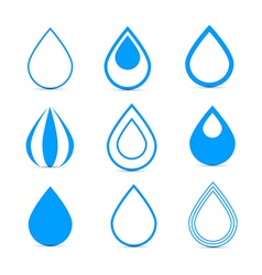 Blue water drops icons set vector