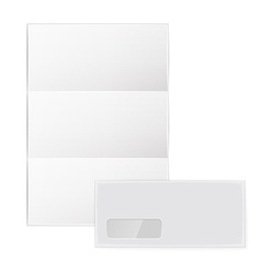 Collection of various blank white paper on white vector