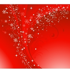 Red christmas banner with snowflakes vector