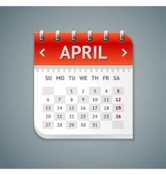 Calendar april flat design vector