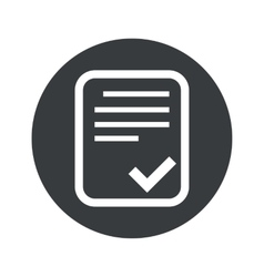 Monochrome round approved document icon vector