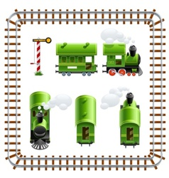 Green vintage locomotive with vector